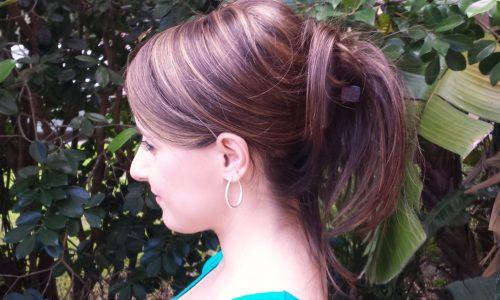 Hair topper in updo